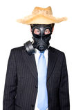 Man with gasmask hat and sunglasses. Picture of a man in a suit and gasmask and wearing sunglasses Royalty Free Stock Photo