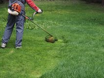 A man with a gasoline mower mows the grass in the country. stock image