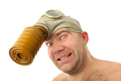 Man in gaz mask Stock Images