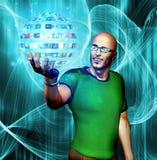 Man gazes into media sphere vector illustration