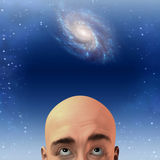 Man gazes up at stars Stock Photo