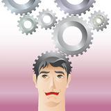 Man and gear Stock Images