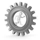 Man into gear. 3D image Royalty Free Stock Images