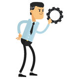 Man with gear icon Royalty Free Stock Images