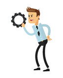 Man with gear icon Stock Photography