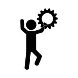 Man and gear icon. Over white background.  illustration Royalty Free Stock Photo