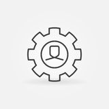 Man in gear line icon. Vector human resources concept sign or design element in thin line style Stock Photo