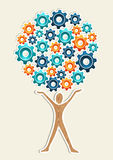 Man gear machine concept tree Royalty Free Stock Photography
