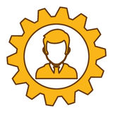 Man and gear wheel. Man and  gear wheel  icon over white background. colorful design. vector illustration Stock Photos