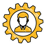 Man and gear wheel. Man and  gear wheel  icon over white background. colorful design. vector illustration Royalty Free Stock Images