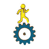 Man and gear wheel. Man and  gear wheel  icon over white background. colorful design. vector illustration Stock Image