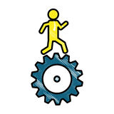 Man and gear wheel. Man and  gear wheel  icon over white background. colorful design. vector illustration Royalty Free Stock Image
