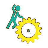 Man and gear wheel. Man and  gear wheel  icon over white background. colorful design. vector illustration Stock Photography