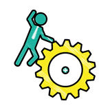 Man and gear wheel. Man and  gear wheel  icon over white background. colorful design. vector illustration Stock Photo