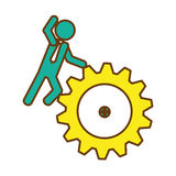 Man and gear wheel. Man and  gear wheel  icon over white background. colorful design. vector illustration Royalty Free Stock Photos