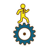 Man and gear wheel. Man and  gear wheel  icon over white background. colorful design. vector illustration Royalty Free Stock Photo