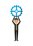 Man with gear. Wheel icon over white background. teamwork concept. colorful design. vector illustration Royalty Free Stock Images