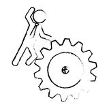 Man and gear wheel. Man and  gear wheel  icon over white background. vector illustration Stock Photography