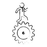 Man and gear wheel. Man and  gear wheel  icon over white background. vector illustration Royalty Free Stock Photos
