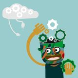 Man with gears on head innovation concept. Man holding gear with gears on head innovation concept . background on separate layer for easy editing stock illustration