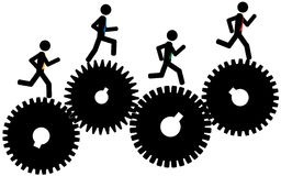 Man on gears. Vector / illustration.The men are running on gears Royalty Free Stock Photos
