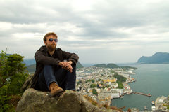 Man in Geiranger. Royalty Free Stock Photo