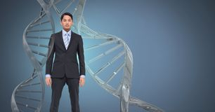 Man with genetic DNA. Digital composite of Man with genetic DNA royalty free stock photo
