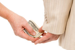The man gently takes a bribe Stock Photography