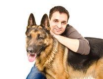 Man and German shepherd Stock Image