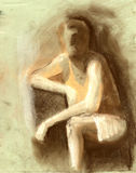 a man gesture drawing in on texture paper Stock Image