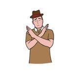 Man gestures cross hands say no cartoon Stock Image