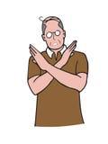 Man gestures cross hands say no cartoon Stock Photos