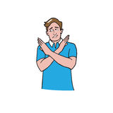 Man gestures cross hands say no cartoon Stock Images