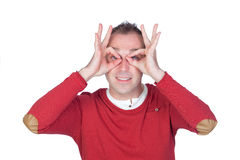 Man gesturing glasses Royalty Free Stock Photography
