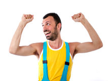 Man gesturing with hands. Winning posture Royalty Free Stock Images
