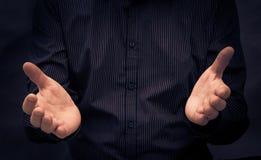 Man gesturing speech showing Stock Photo