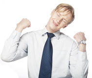 Man gesturing success sign. Isolated over white. Royalty Free Stock Images