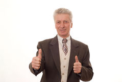 Man gesturing a thumbs up isolated on white Stock Photography