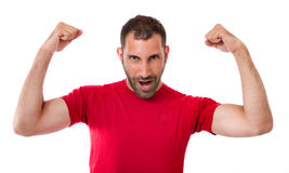 Man gesturing win. White background Royalty Free Stock Photos