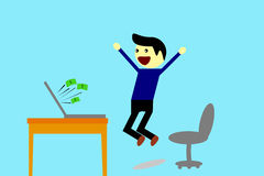 Man - Get Earn from Computer. Simple illustration, Man - Get Earn from Computer Stock Images