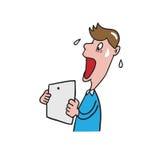 Man get shock news cartoon drawing 1 Stock Image