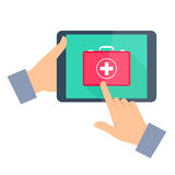 Man gets first aid by internet. Telemedicine and telehealth. Man gets first aid by internet. Telemedicine and telehealth flat concept illustration. One hand Royalty Free Stock Images