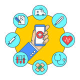 A man gets first aid by phone. Medicine and health. A man gets first aid by phone. Online medicine and health flat line concept illustration. Human hand holding Stock Images