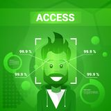 Man Getting Access After Face Identification Scanning Modern Technology Of Biometrical Recognition Concept stock illustration