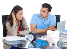 Man getting angry at woman for spending too much money a Royalty Free Stock Image