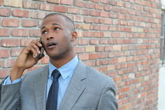 Man getting bad news on the phone Stock Photos