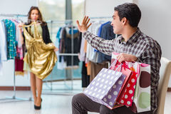 The man getting into debt due to shopping Stock Images
