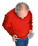 Man getting dollar bills from the pocket Stock Photography