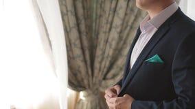 Man getting dressed. Man getting ready to dress and business meeting. Man getting dressed. Man getting ready to business meeting stock footage
