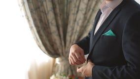 Man getting dressed. Man getting ready to dress and business meeting. Man getting dressed. Man getting ready to business meeting stock video